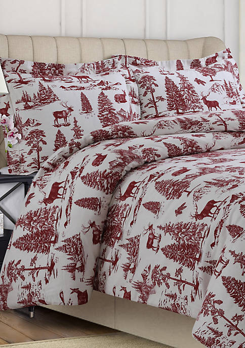 Tribeca Living 200 GSM Printed Flannel Duvet Set