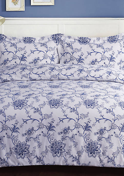 Floral Flannel Oversized Duvet Set