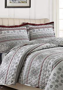 Tribeca Living Cotton Flannel Oversized Quilt Set