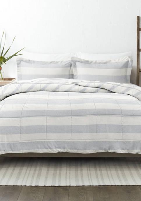 Premium Down Alternative Distressed Stripe Reversible Comforter Set