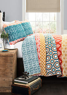 Lush Decor Bohemian Stripe Quilt Set