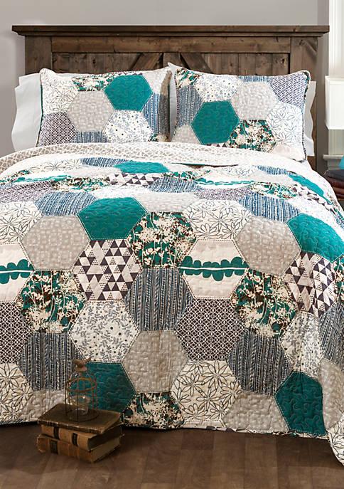 Lush Decor 3-Piece Briley Turquoise Quilt Set