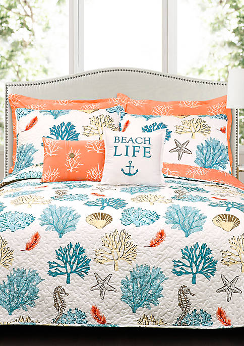 Lush Decor Coastal Reef Feather Reversible Quilt Set