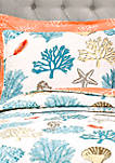 Coastal Reef Feather Reversible Quilt Set