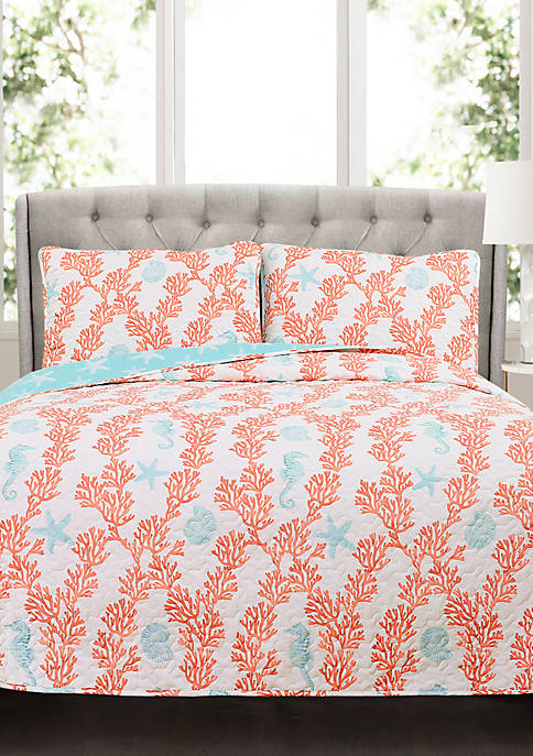 Lush Decor Dina Coral Reversible Quilt Set