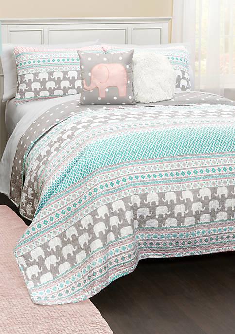 Elephant Stripe Reversible Quilt Set