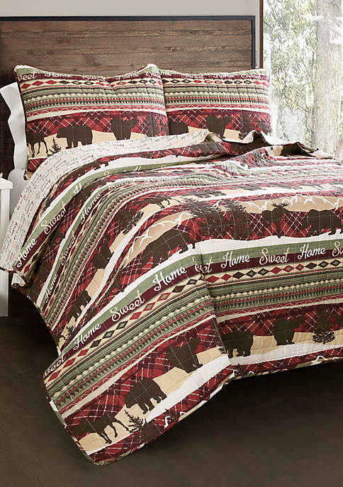 Lush Decor Holiday Lodge Reversible Quilt Set