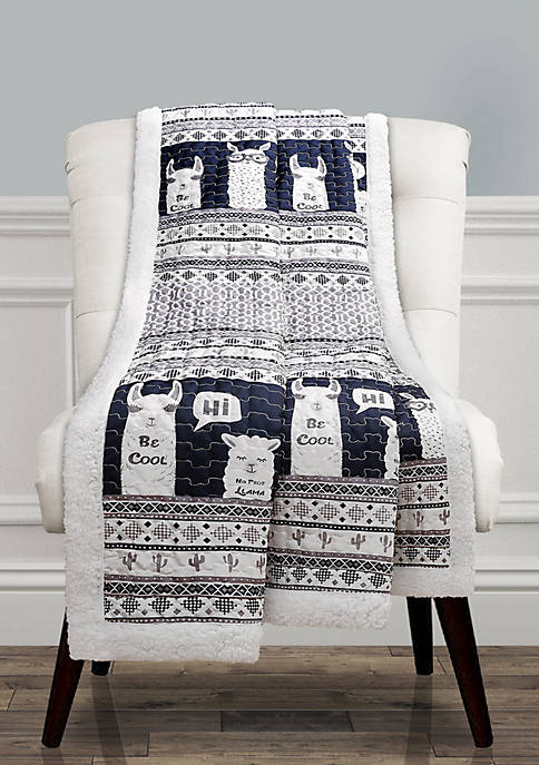 Lush Decor Llama Stripe Sherpa Reversible Throw