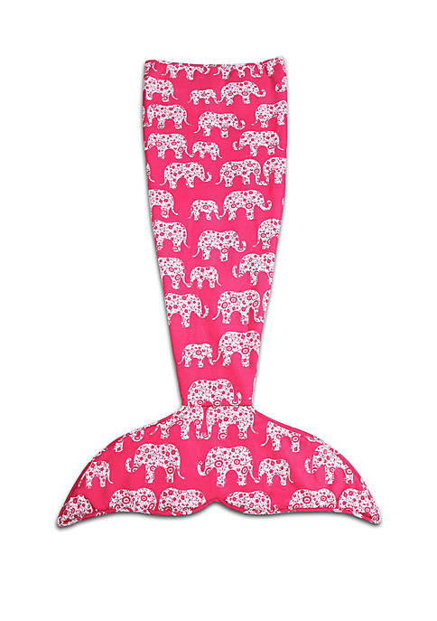 Lush Decor Elephant Parade Mermaid Shape Sherpa Throw