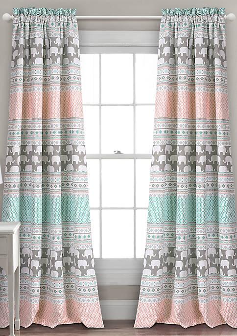 Lush Decor Elephant Stripe Room Darkening Window Curtain