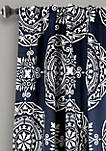 Karmen Medallion Room Darkening Window Curtain Panels Navy Set 52 in x 84 in