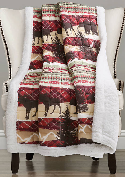 Lush Decor Holiday Lodge Red/Brown Sherpa Throw