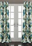 Floral Paisley Room Darkening Window Curtain Blue Set 52 in x 84 in