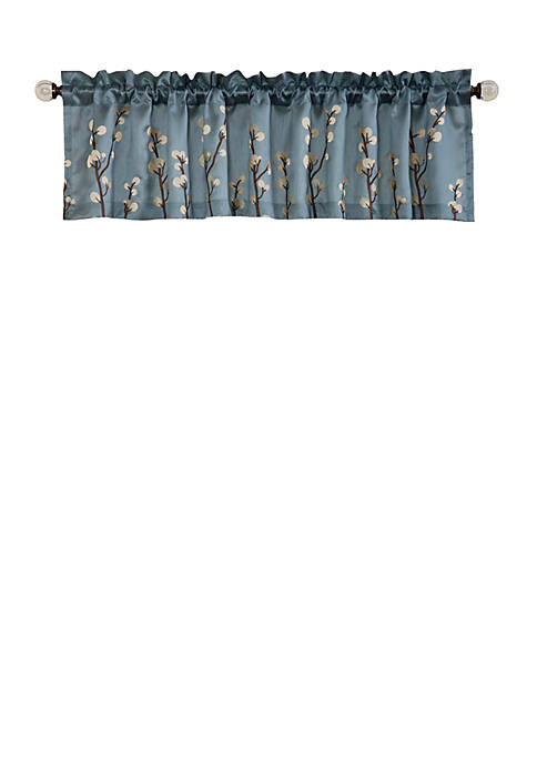 Cocoa Flower Single Valance Blue/Brown- 18 in x 84 in