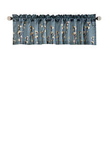 Lush Decor Cocoa Flower Single Valance Blue/Brown- 18 in x 84 in