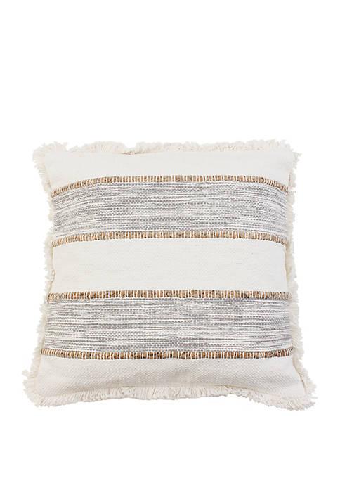 Knit Textured Jute Stripe Fringe Pillow