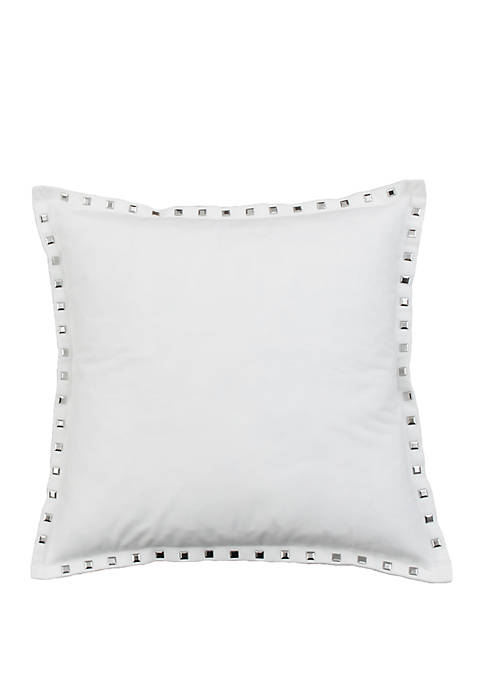 Solid Velvet Nailhead Pillow