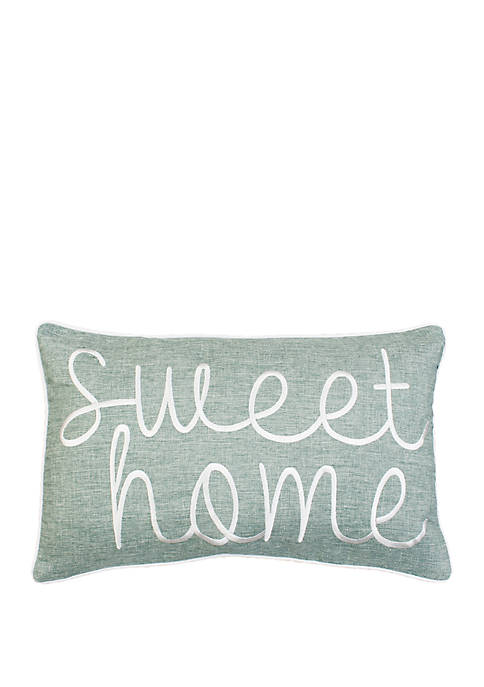 Sweet Home Embroidered Textured Pillow