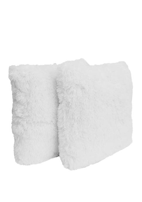 Set of 2 Chubby Faux Fur Pillow