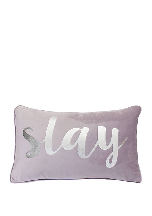 Suzy Slay Script Velvet Pillow