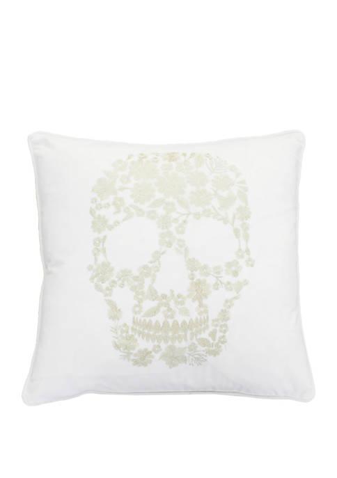 Sammy Skull Metallic Embroidered Velvet Pillow
