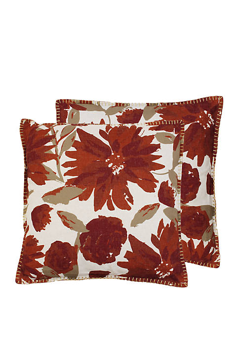 Set of 2 Chandra Floral Foil Printed Franco Faux Linen Pillow
