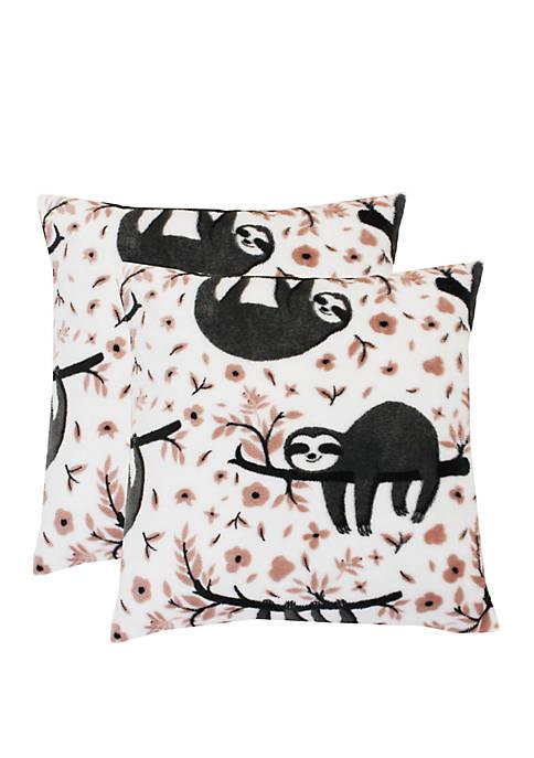 Set of 2 Seth Sloth Fleece Pillows
