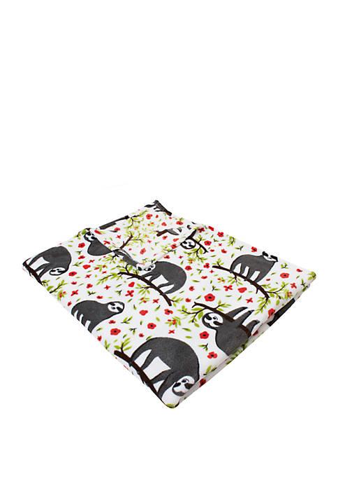 Sandro Sloth Printed Flannel Fleece Blanket