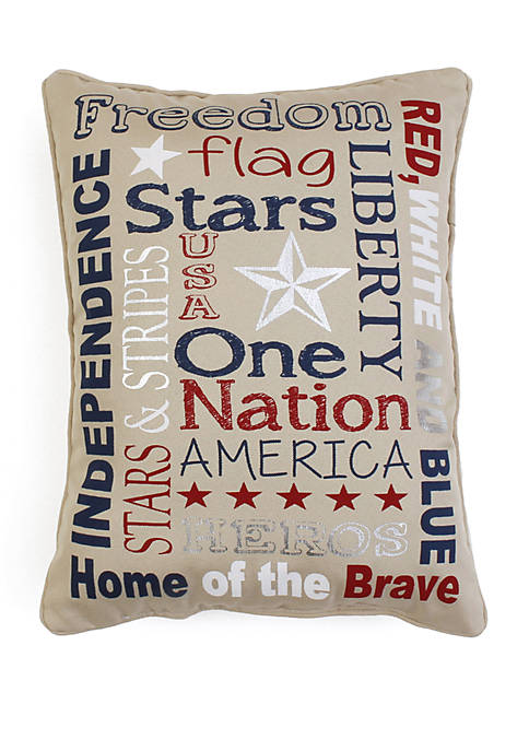 Patriotic Typography Faux Linen Pillow