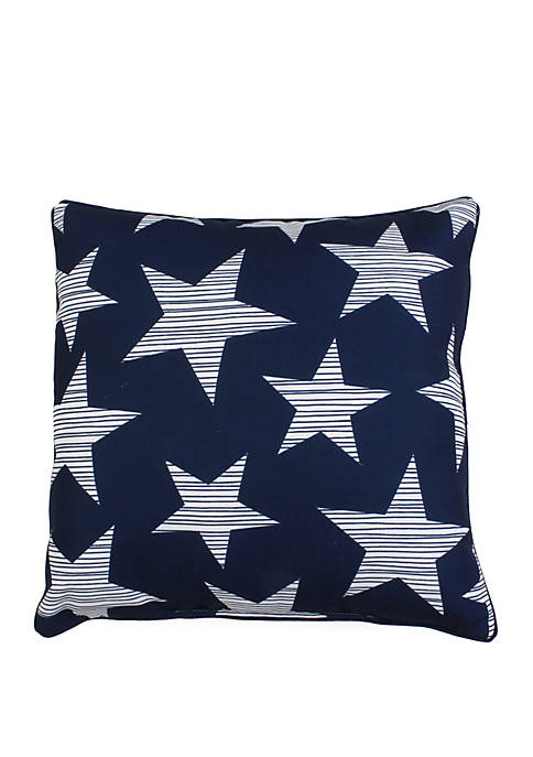 Navy and White Star Spangled Throw Pillow