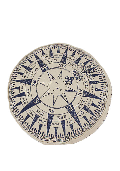 Round Natural Compass Printed Pillow