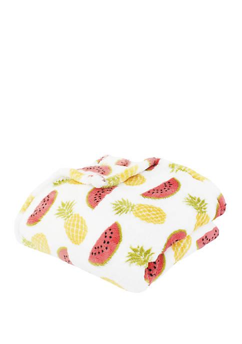 Priscilla Pineapple and Watermelon Printed Loft Fleece Decorative Throw