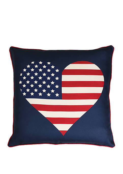 Heart Flag Reversible Plaid Printed Faux Linen Pillow