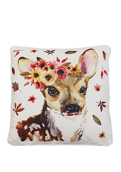 Wintorp Deer Printed Franco Faux Linen Pillow