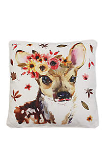 Thro by Marlo Lorenz Wintorp Deer Printed Franco Faux Linen Pillow