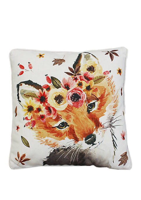 Wintorp Fox Printed Franco Faux Linen Pillow
