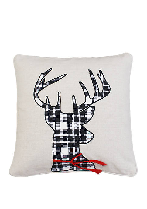 Yammy Deer Embroidered Plaid & Scarf Applique Pillow