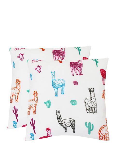 Thro by Marlo Lorenz Larry Llama Fleece Pillows-
