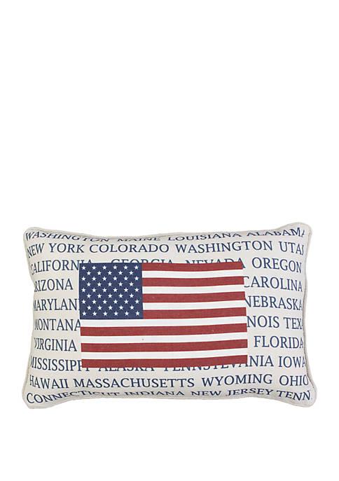 American Flag States Throw Pillow