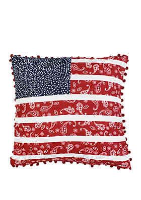 cb2c7d023 Thro by Marlo Lorenz American Flag Paisley Pom Pom Throw Pillow ...