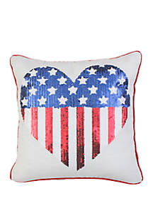 Thro by Marlo Lorenz American Flag Sequin Heart Throw Pillow