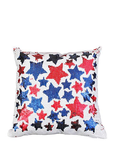 Americana Star Sequin Reversible Throw Pillow