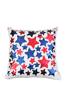 Thro by Marlo Lorenz Americana Star Sequin Reversible Throw Pillow