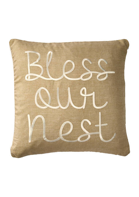 20 in x 20 in Bless Our Nest Embroidered Pillow
