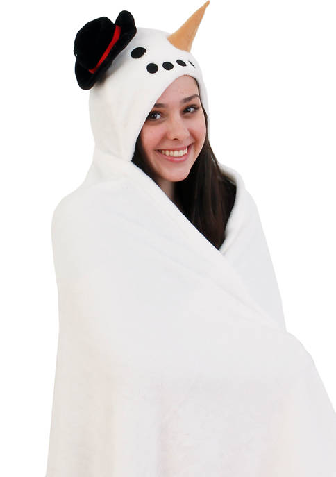 Fleece Hooded Snowman Throw
