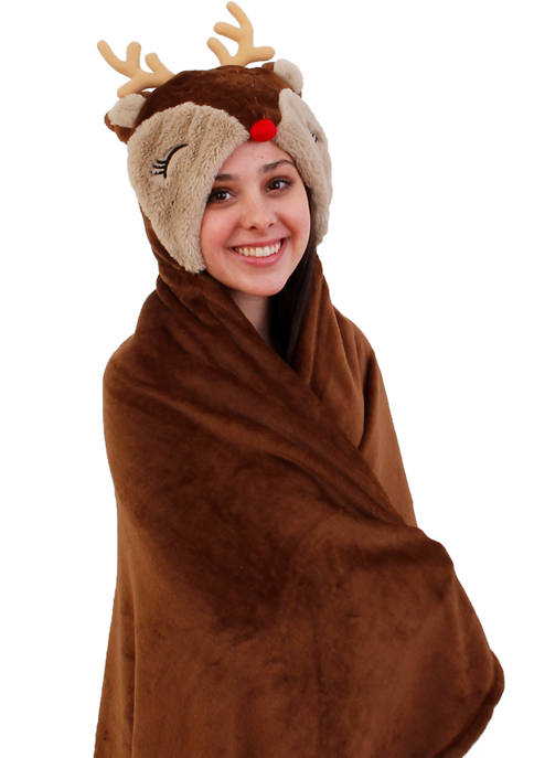 Fleece Hooded Reindeer Throw