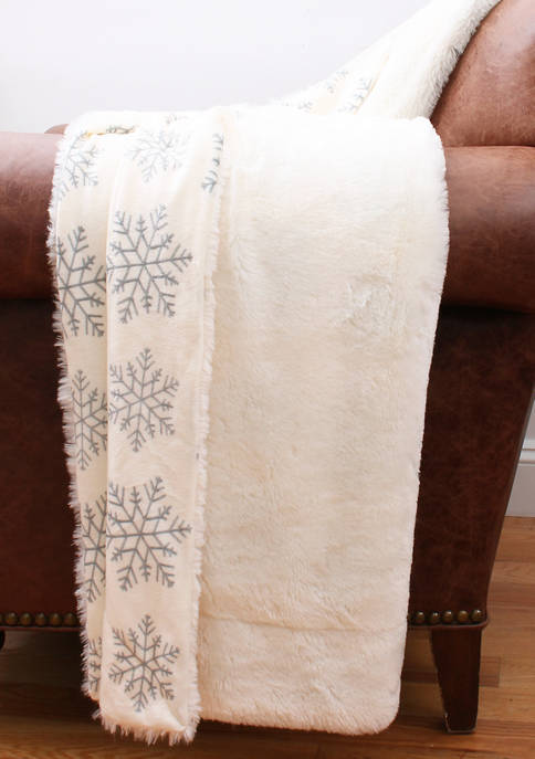 Micromink Snowflake Printed Throw