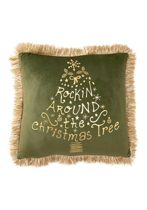 20 in x 20 in Rockin Around the Christmas Tree Pillow