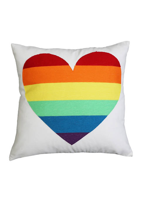 Thro by Marlo Lorenz Embroidered Rainbow Heart Pillow