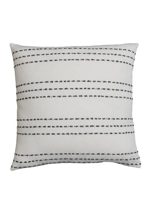 Britton Stripe Yarn Stitched Faux Linen Pillow
